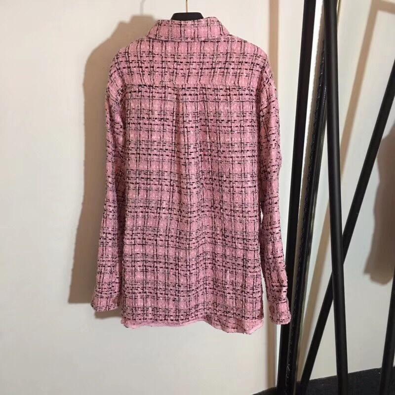 2019 femmes marque chemise revers laine tissage chemise à manches longues veste mince manteau femmes tops t-shirt qualité supérieure vêtements pour femmes CC-3