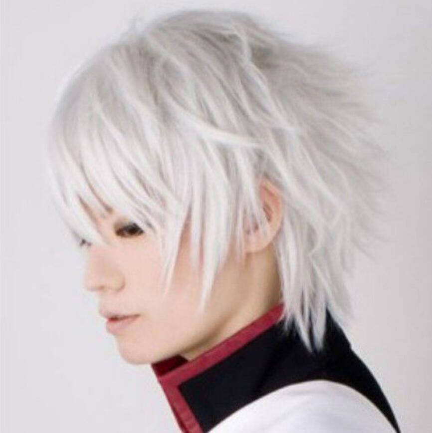 Парик крутой парень парни короткие волосы сексуальный мужчина косплей аниме парики серебристо-белый # 991