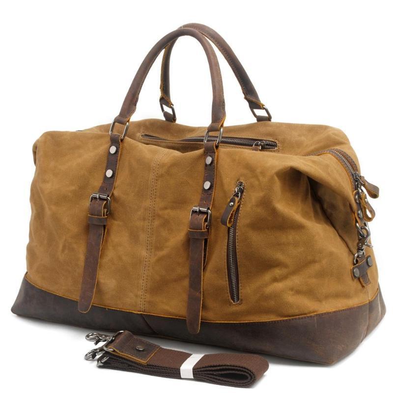 Encerado lona Vintage Homens Viagem Duffel Grande Capacidade oleada couro Weekend Bag Básico Holdall Bolsa de noite Bolsa