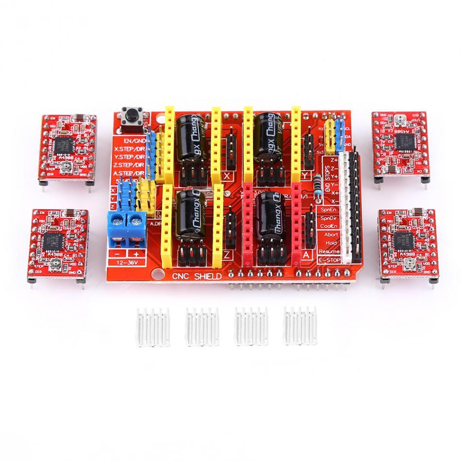 Freeshipping New Printer Kit CNC Shield Expansion Board+4Pcs A4988 Stepper Motor Driver For Engraver