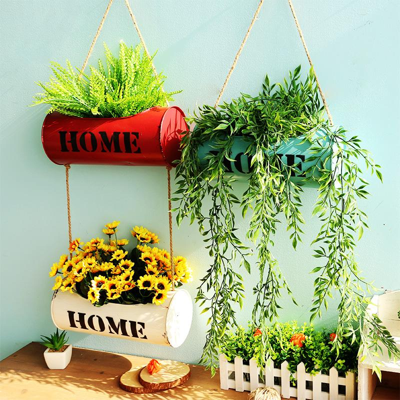 Hanging Wall Flower Pot Vertical Garden Planting Pot for Succulent Planter Hemp Hanging Flower Basket Home Christmas Decor T191016