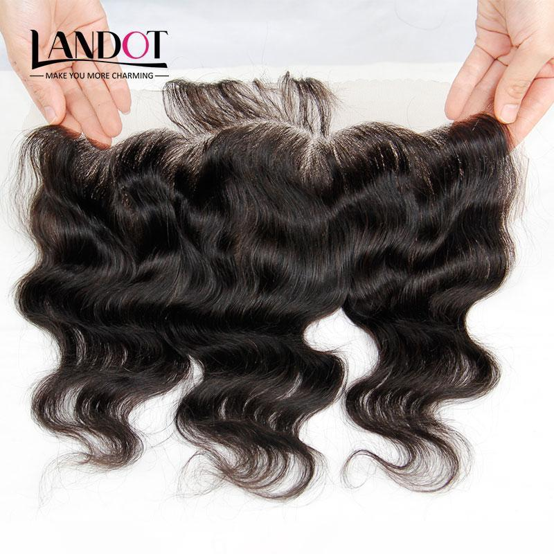 Brazilian Lace Frontal Closure Malaysian Indian Peruvian Cambodian Virgin Human Hair Body Wave Closures Ear To Ear 13x4 Size Natural Color
