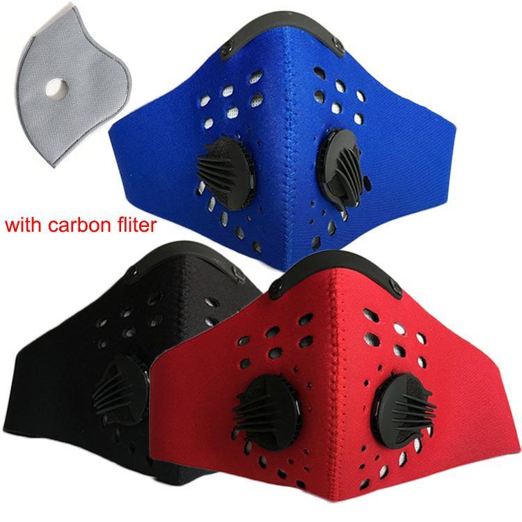 DHL Велоспорт половина маска для лица PM2.5 угольный фильтр два клапана выдоха лыжная пылезащитная анти-загрязнение смог маска для лица спортивная крышка щит