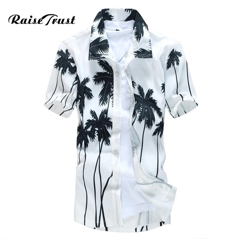 Mens Hawaiian Shirt Male Casual camisa masculina Printed Beach Shirts Short Sleeve brand clothing Free Shipping Asian Size 5XL MX200518