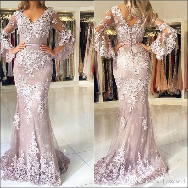 New Arrival Mother Of The Bride Groom Dress Lace Long Sleeves V Neck Applique Floor Length Mermaid Evening Prom Gown