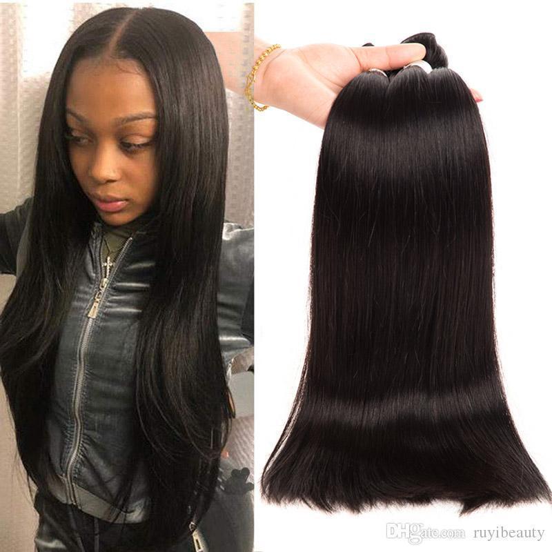 Malezyalı İnsan Saç Uzantıları 30-40inch uzun İnç 3 Paketler Virgin Remy saç örgüleri İpeksi Düz Doğal Siyah atkıları