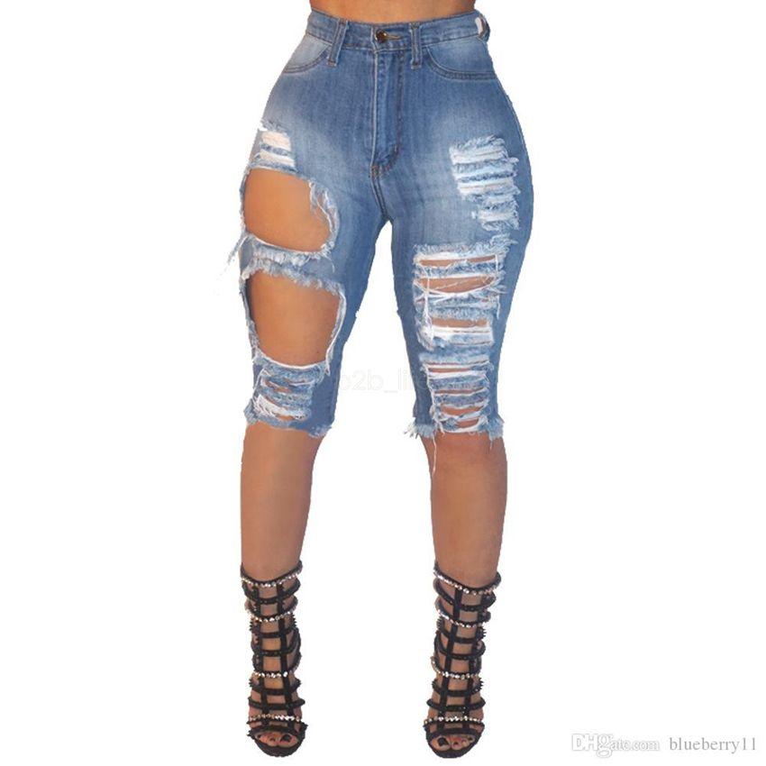 Lady Ripped Skinny Pantalones vaqueros cortos Mujeres High Cintura Sexy Hole Slim Fit Denim Shorts Delgado Denim Straight Biker Skinny Jeans LJJA2611
