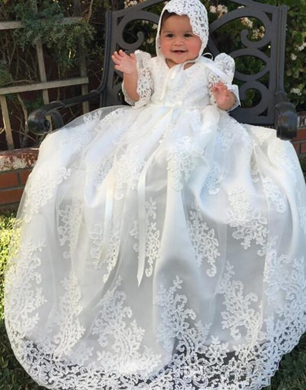 Vestido de bola del cordón del bebé niñas vestido de primera comunión vestidos de niña de las flores largo 2019 Cumpleaños del niño bautizo de los niños Vestidos precioso