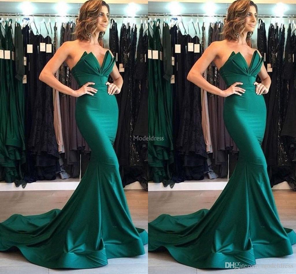 Design exclusivo Sereia Vestidos de Noite 2019 Strapless Sweep Train Formal Party Prom Vestido Moderno Ocasião Especial Vestido Quente Vestidos De Fiesta