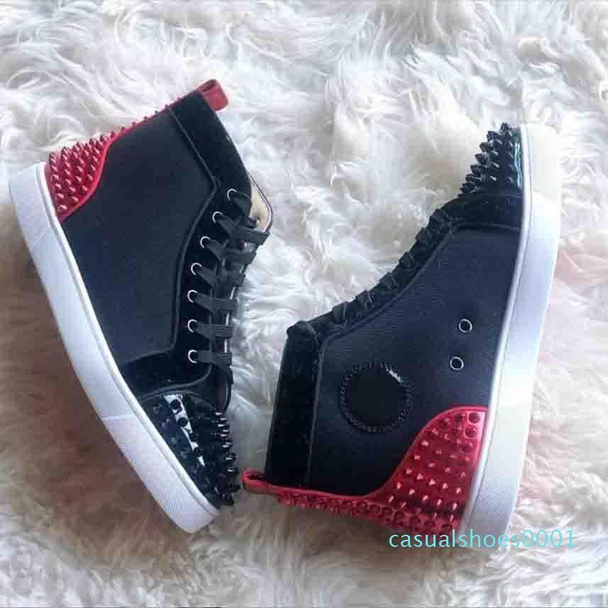 Мужчины Женщины Красный Нижний обувь черный замши с серебряными шипами ног кроссовки,бренд дизайнер Шипы носок Повседневная обувь AC01