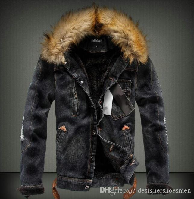 Mens Washed Winter Jean Jackets Autumn Thick Fur Designer Coats Long Sleeved Single Breasted Jacket