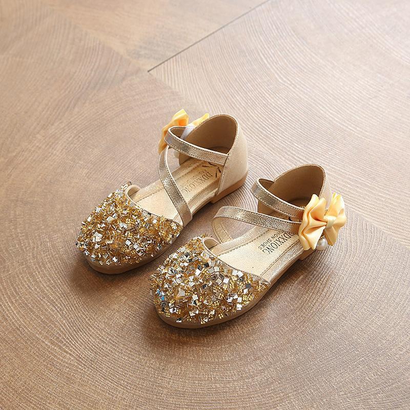 New kleine Kleinkind-Kind-Mädchen-Sommer-Pailletten Glitzer-Sandalen Schuhe für Mädchen Prinzessin Party Hochzeit Schuh 1-13 Jahre Y19051303