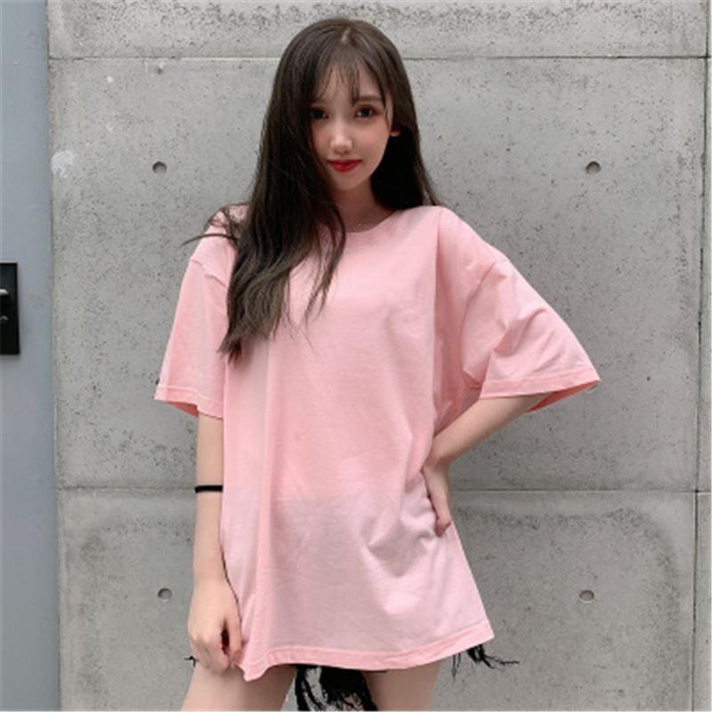 T-shirt blanc en coton femmes en vrac solide T-shirt Les femmes O-cou Casual été coréenne style T-shirt pour les dames PZ3050