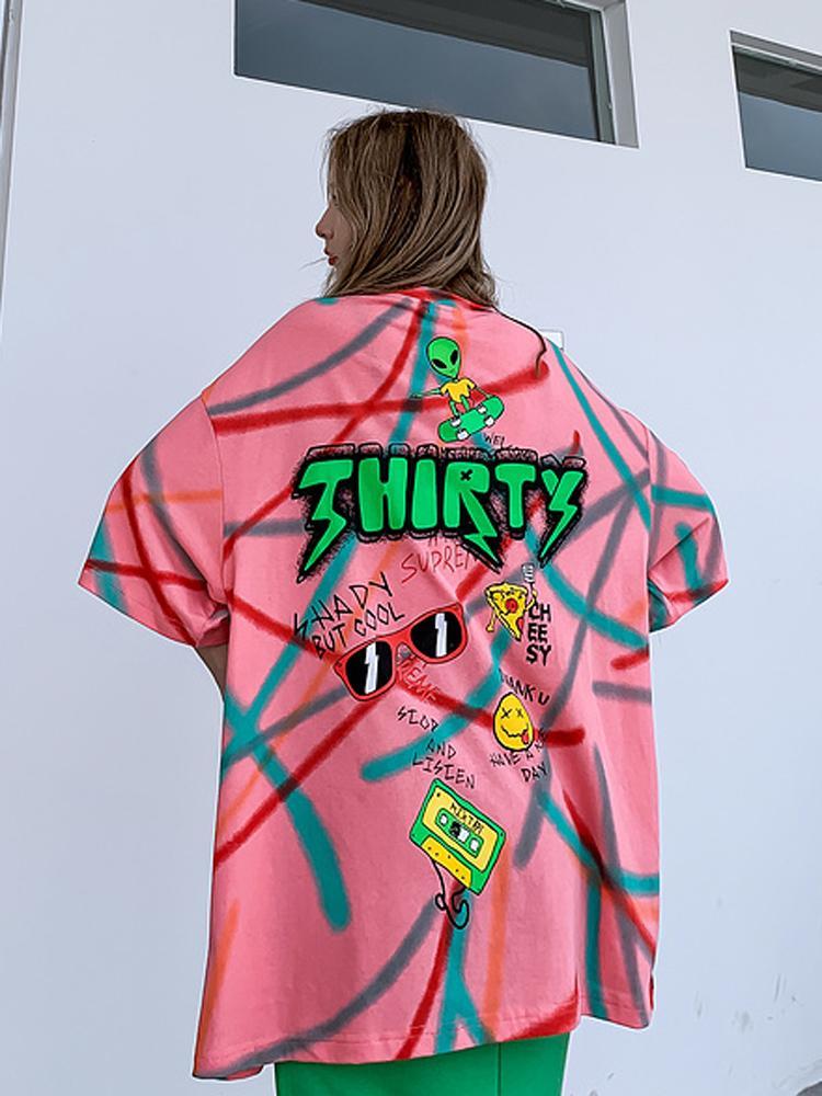 2020 летних пары с короткими рукавами футболки для мужчин и женщины BF Ветер Национальной Мода Хип-хоп граффити Trend Печать Сыпучей Пятиконечная втулки