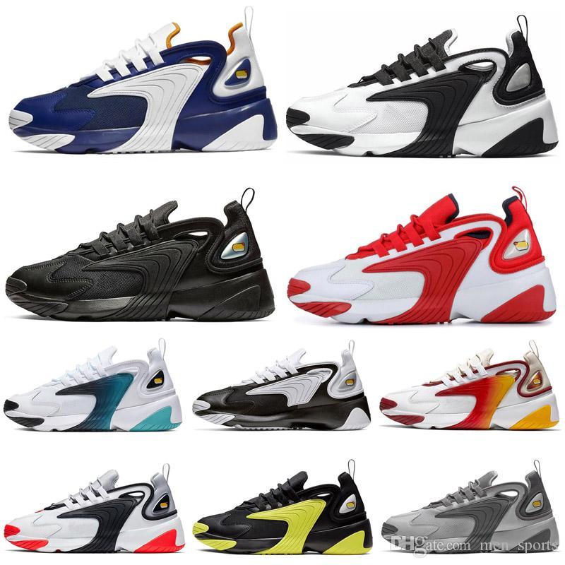 Nike Zoom M2K 2019 Yeni Varış Moda OG Gundam koşu Ayakkabıları Yüksek kalite için Mens Beyaz Mavi Kırmızı Siyah Açık Spor Sneakers Boyutu 36-45