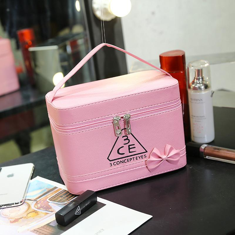 New Cosmetic Bag Wholesale Customized Korean Hand-held Stereotyped Bag Manufacturer Direct Selling Washing Bag 3ce Cosmetic Box