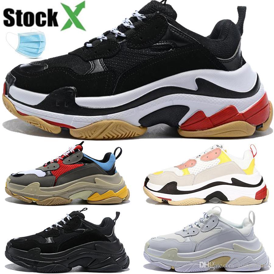 패션 파리 트리플 S는 남성 여성 캐주얼 아빠 신발 트리플 검정, 흰색, 회색 빈티지 남성 스타일 운동화 트레이너 미국 5.5-11