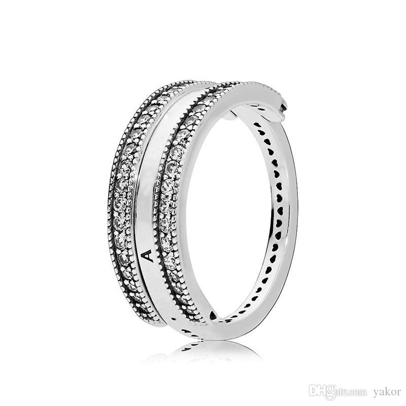 Flip Универсальный Стерлинговый Серебряный Кольцо Логотип и сердца Оригинальная коробка для Pandora CZ Алмазные Женщины Обручальное кольцо