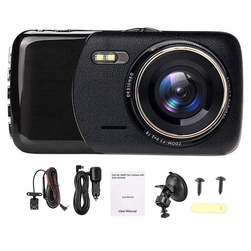 داش المزدوج كاميرا لوحة سيارة كاميرا مسجل FHD 1080P القيادة حلقة تسجيل 4 بوصة IPS الشاشة 170 درجة زاوية واسعة WDR وقوف السيارات