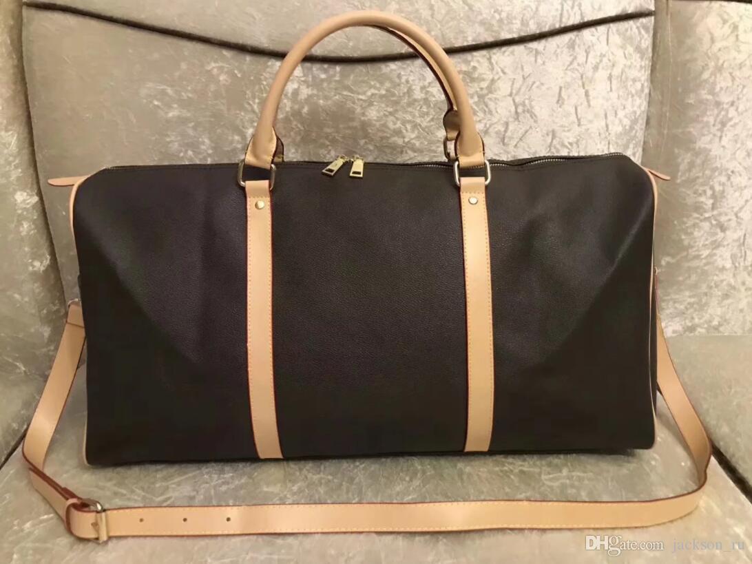 2019 men duffle bag women travel bags hand luggage luxury designer travel bag men pu leather handbags large cross body bag totes 55cm