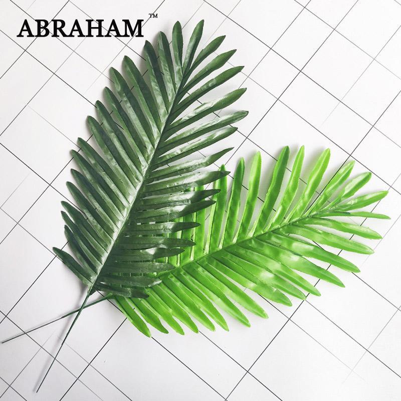 46CM النباتات محفظة 5pcs أوراق الحرير الاستوائية النخيل الاصطناعي يورق فرع الخضراء وهمية شجرة جوز الهند أوراق الشجر لحفل الزفاف الرئيسية الطرف الديكور