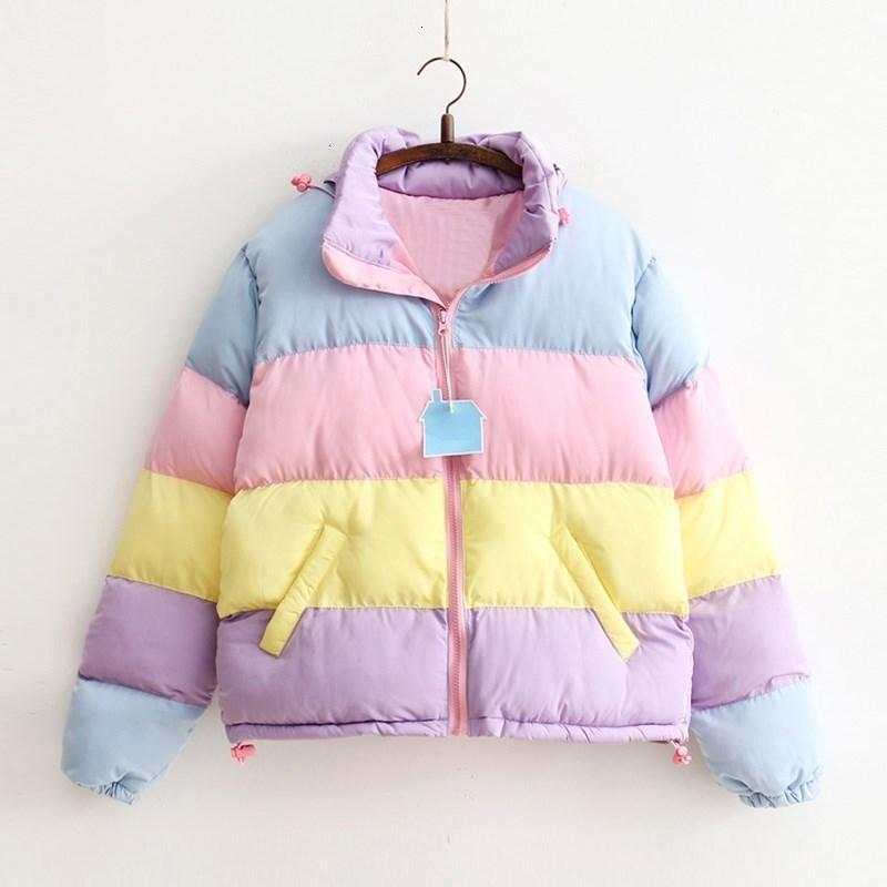 Mulheres Brasão Oversize Harajuku Parkas curto acolchoado Casual casaco quente listrado do Agasalho do arco-íris Stripe Splicing Fluffy Parka T191021