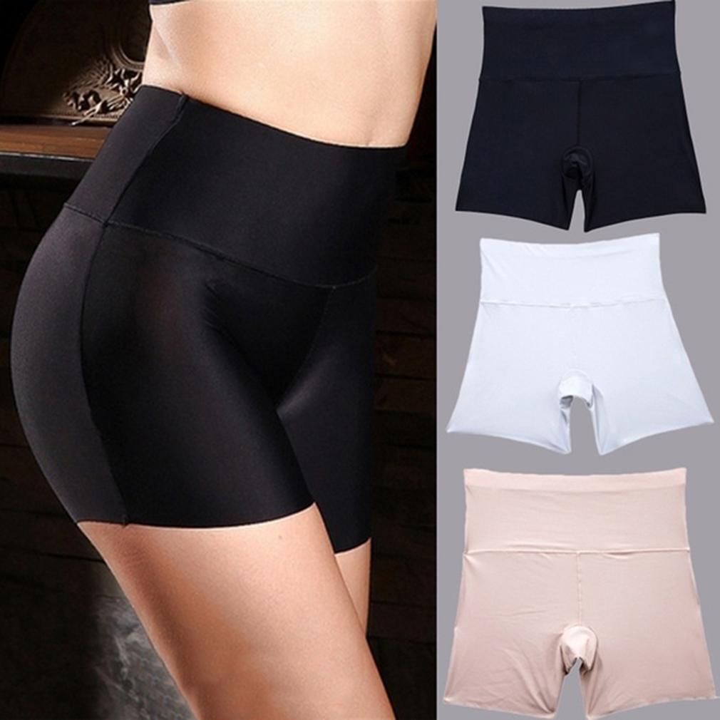 Femmes sécurité Shorts Pantalon sans couture en nylon haute Culotte taille transparente Anti vidais Boyshorts Pantalons Filles Sous-vêtements Minceur