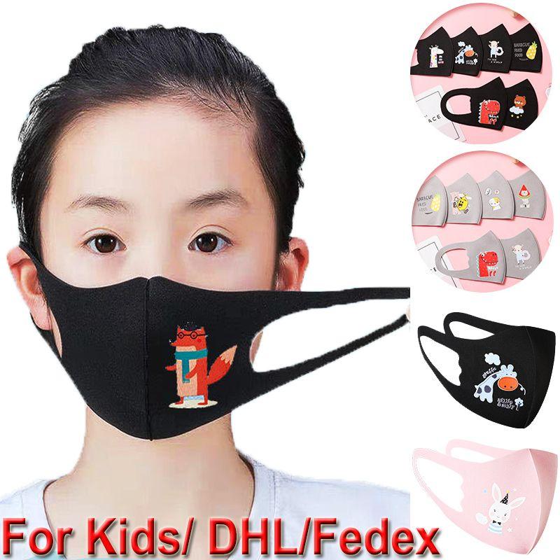 Maschere 100pcs morbido bambini affrontano protezione dei capretti delle ragazze dei ragazzi del fumetto Bocca della Anti-Polvere di ghiaccio seta traspirante lavabile Earloop riutilizzabili Maschere 001