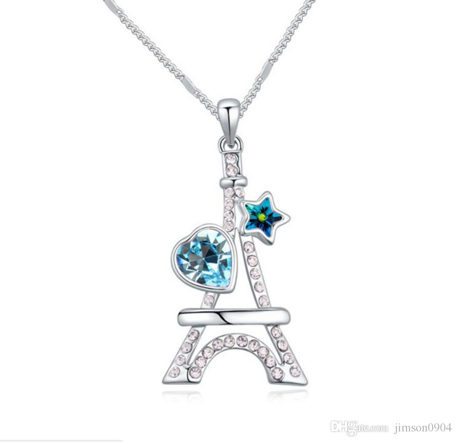 Fabriqué en Chine bijoux de mode Femme Pendentif À l'aide de Swarovski Collier En Cristal Élémentaire Tour Eiffel Ornements Haut De Gamme féminin