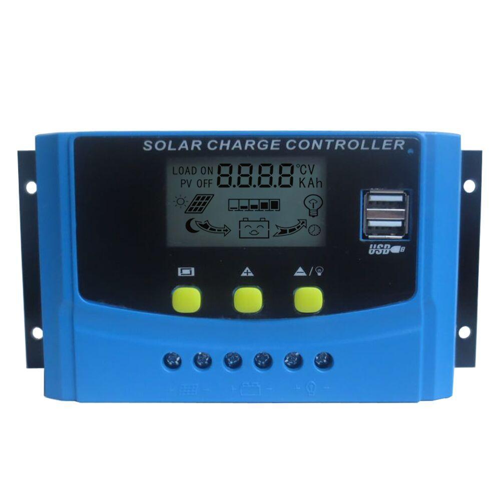 30A 40A 12V / 24 литий-ионный Lifepo4 ЖК-дисплей PWM регулятор панели солнечных батарей контроллер заряда батареи параметр регулируется с 5V USB