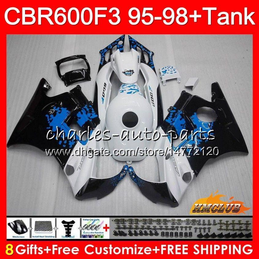 Corps + réservoir pour Honda CBR 600F3 600CC graffiti bleu CBR600 F3 95 96 97 98 41HC.12 CBR 600 FS F3 CBR600FS CBR600F3 1995 1996 1997 1998 Carénage