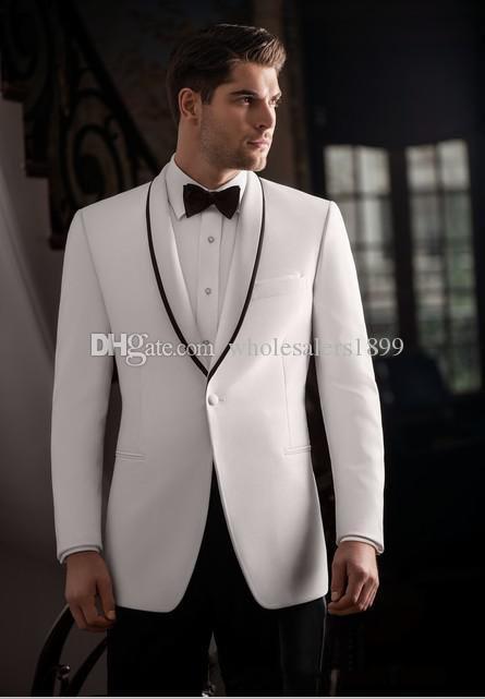 Nuovi Scialli dello sposo del risvolto dello scialle popolare, uomini belli esili di cerimonia nuziale di Groomsmen degli uomini adatti di promenade (giacca + pantaloni + cravatta) NO: 449