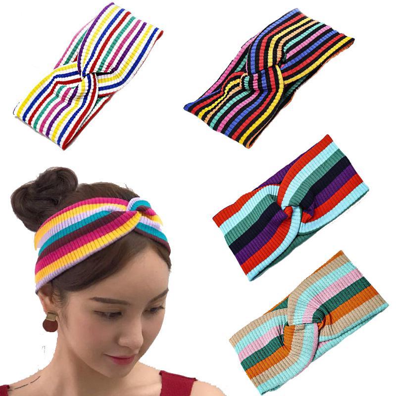 2020 Мода Радуга Полосатая повязка для женщин вязать полосы Упругие волосы девушки аксессуары для волос Opaska Haarband