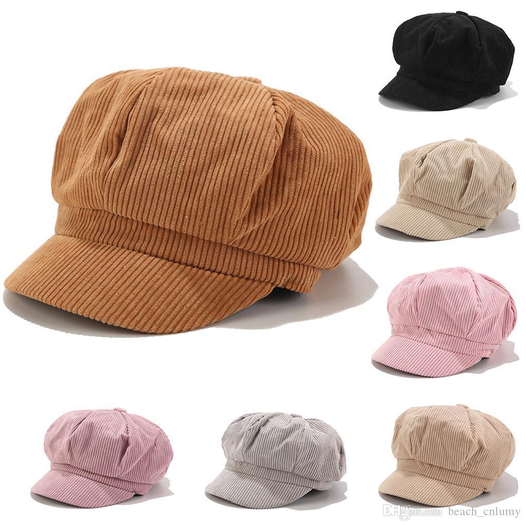 2019 Women Winter Hat Beret Female Cotton Cap 7 Color New Woman Hats Caps Black White Gray Stingy Brim Pink Beret Caps Accessories