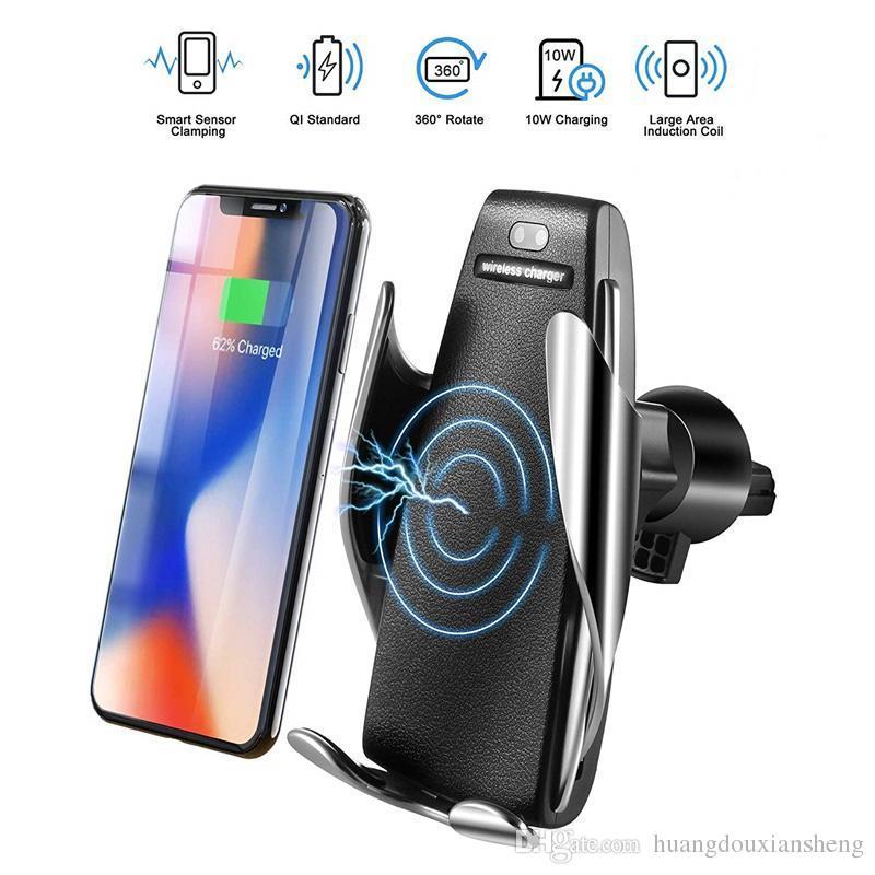 S5 hilos del coche cargador automático de sujeción para iPhone Android salida de aire del titular del teléfono rotación de 360 grados 10W de carga rápida con la caja