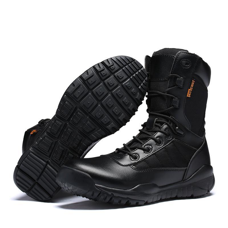 Forças especiais Tático de Combate ao ar livre Exército Esporte Homens botas de deserto Botas Sapatos de viagem de couro de alta Botas Alta Qualidade