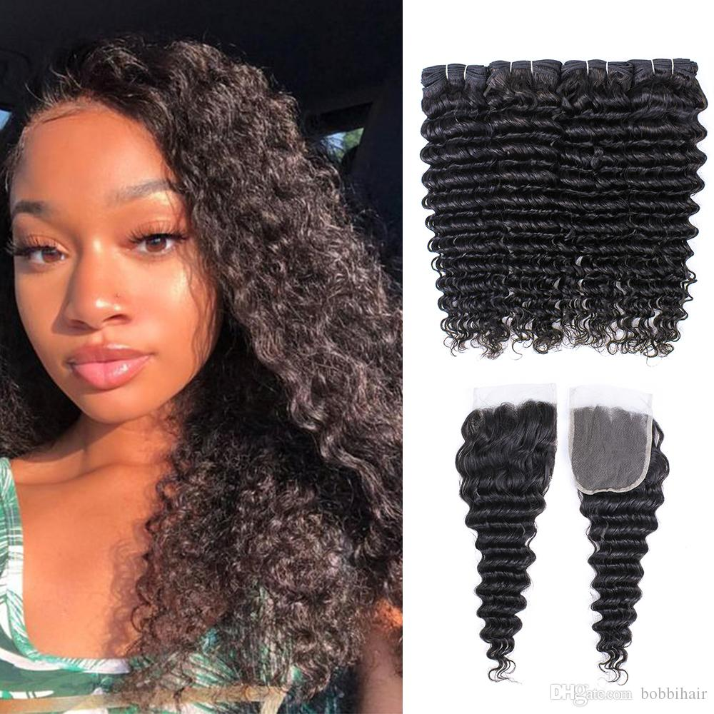 Brazilian Deep Wave Hair Bundles With Closures Natural Color 4 Bundles with 4x4 Lace Closure 10-28 Inch 100% Remy Human Hair Extensions