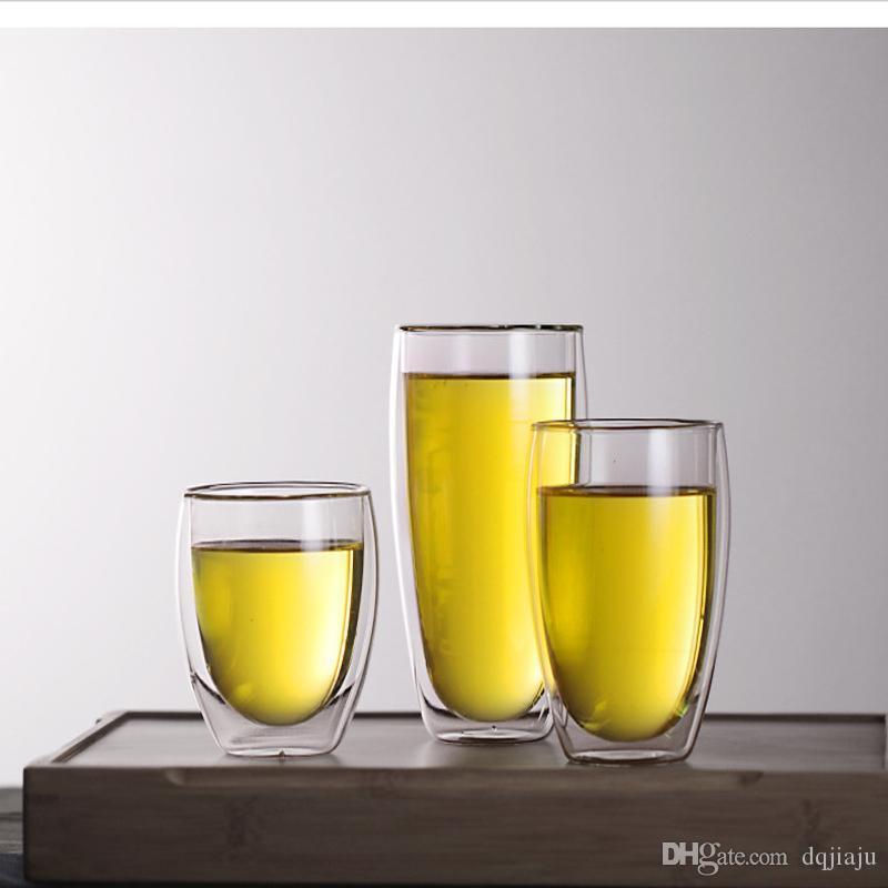 Venta al por mayor Europa estilo doble pared vidrio tazas de café resistente al calor 250 ml 350 ml 450 mL taza de té cristalería con alta calidad