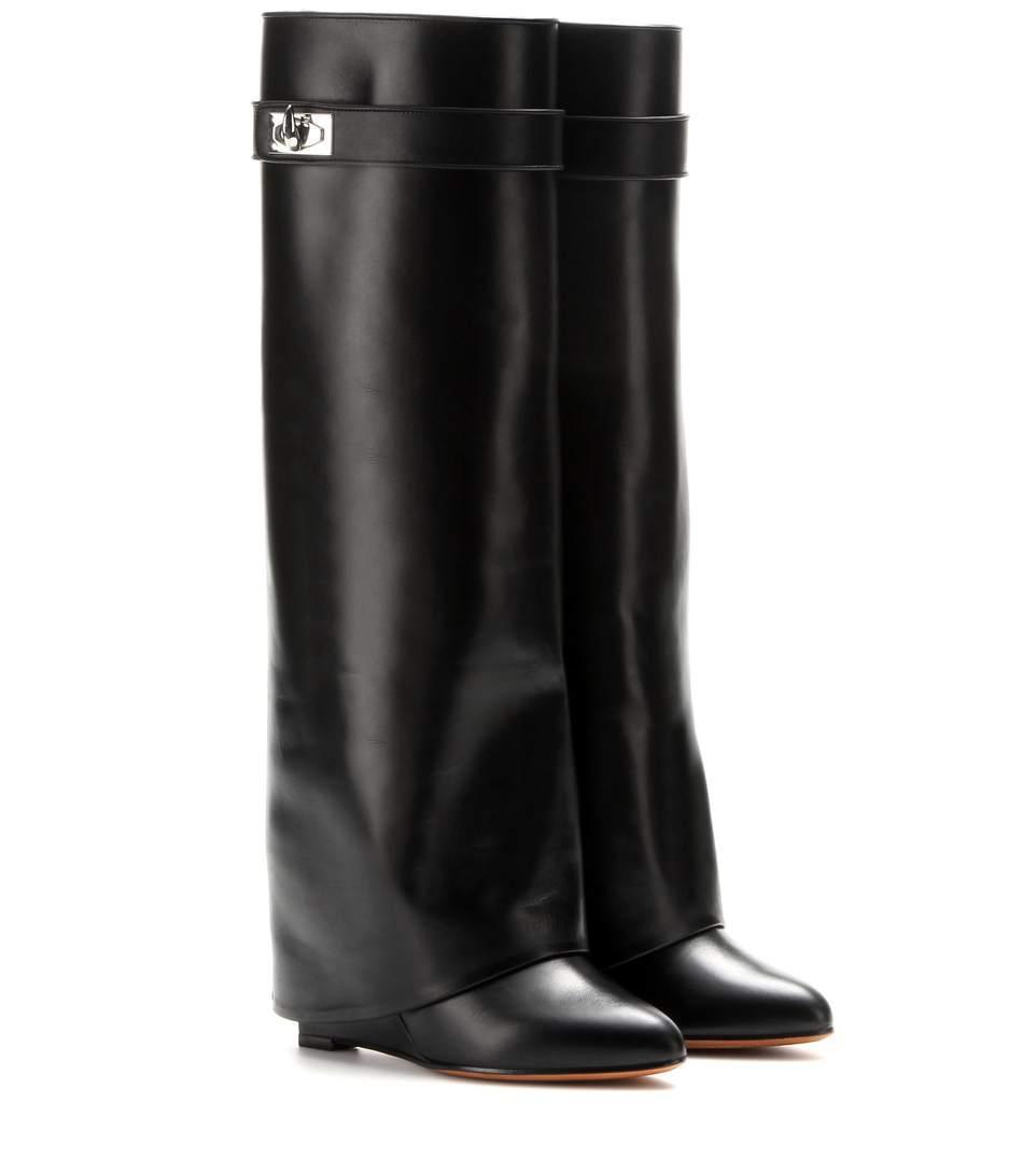 Nuevo estilo de invierno botas altas hasta la rodilla Mujer tacón de cuña de bloqueo de tiburón Correa de punto de doblado del dedo del pie señoras caballero Capa botas