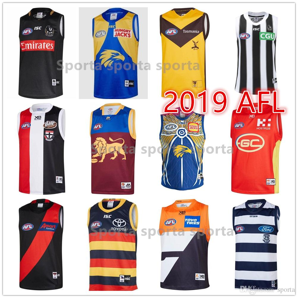 2020 2019 2020 Afl Jerseys Geelong Cats Essendon Bombers Adelaide Crows Collingwood West Coast Eagles Guernsey Rugby Singlet League Sleeveless From Sporta 32 Dhgate Com