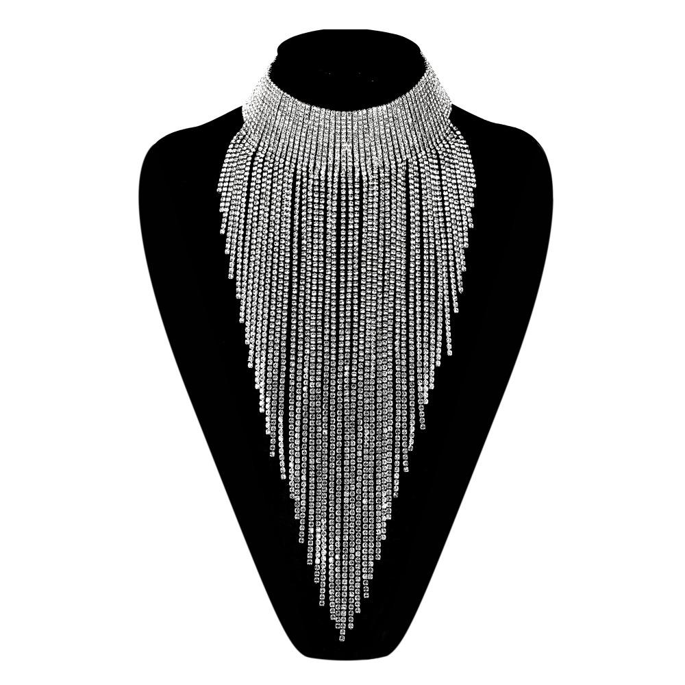 Bella Fashion Luxury Tassel Bridal Necklace Austrian Crystal Rhinestone Wedding Choker Necklace For Women Cocktail Party Gift