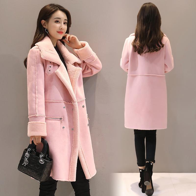 2018 Inverno do falso das mulheres lã de carneiro Casacos Feminino Longo Grosso Shearling Coats Abotoamento Faux Suede Leather Jackets Quente