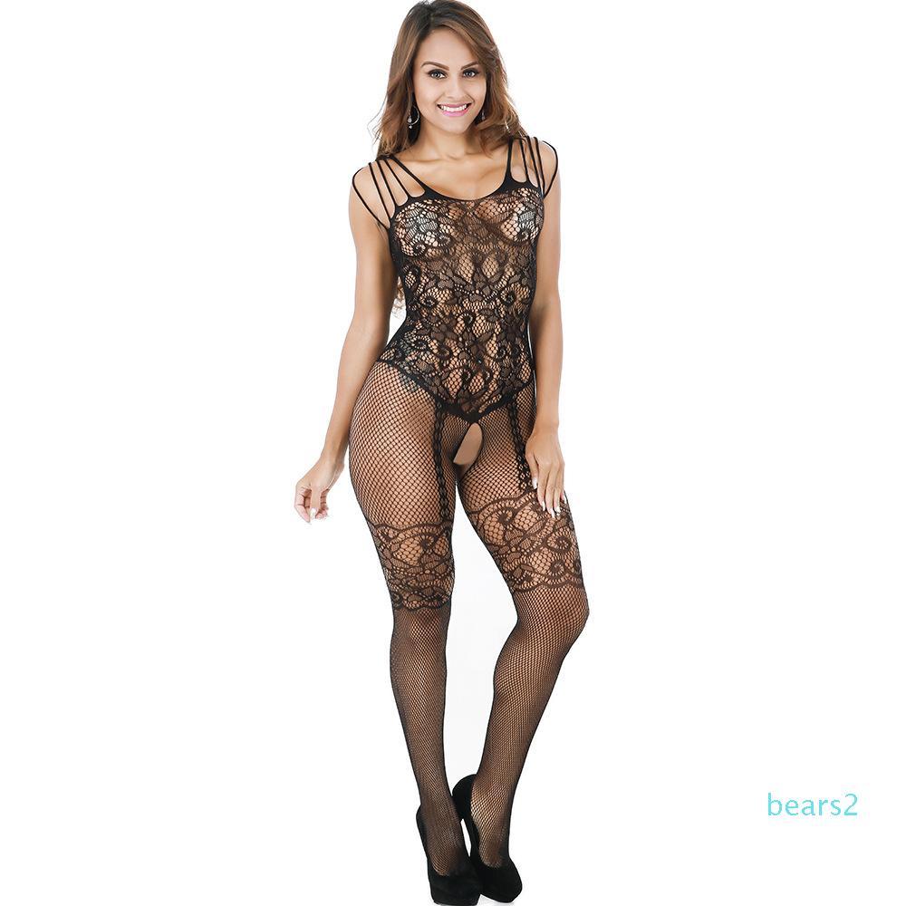 New llegan las mujeres atractivas de la ropa interior erótica Medias 2020 de las nuevas mujeres Onesies de encaje medias de la manera Sleeveles Mujer Ropa interior abierto