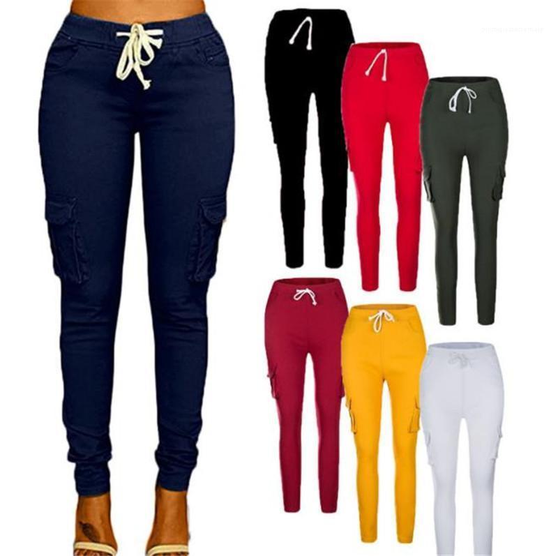 Designer-Hosen Art und Weise beiläufige elastische Taille Solid Color Fracht lange Hosen Damen-Hosen plus Größe Frauen
