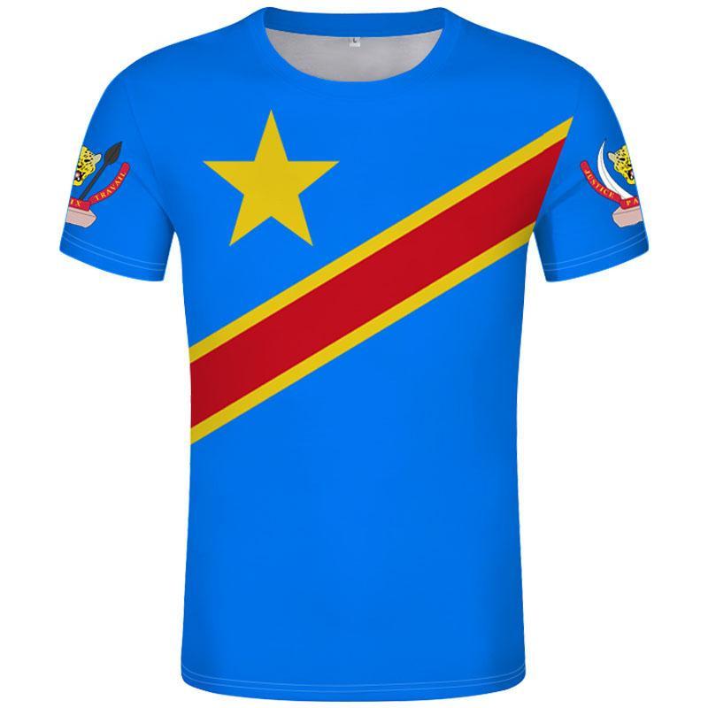 Заир футболка DIY бесплатная на заказ имя количество зар футболка стране за флаг страны Конго французский текст печатать фото одежды