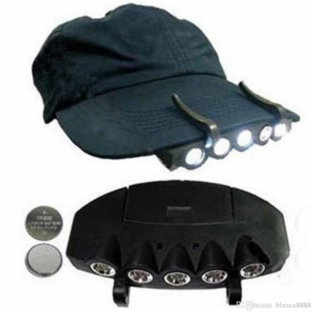 5LED Super Bright Cap Light Headlight Head Lamp Flashlight Caps Hat Lights Clip On Fishing Lamps