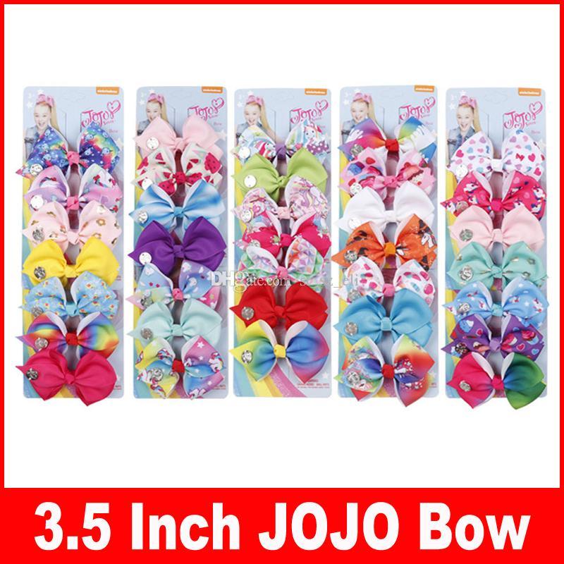 3.5 cal JoJo Bow Girl Hair Kokardki Kwiaty Rainbow Mermaid Unicorn Girl Clippers Girls Hair Klipsy Jojo Pinki Do Włosów Uroda Akcesoria 7 sztuk / zestaw