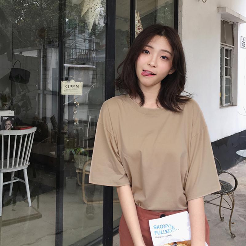 Sólido ocasional algodón de las señoras de gran tamaño camiseta blanca Negro camiseta de las mujeres más el tamaño O-cuello del envío de la gota