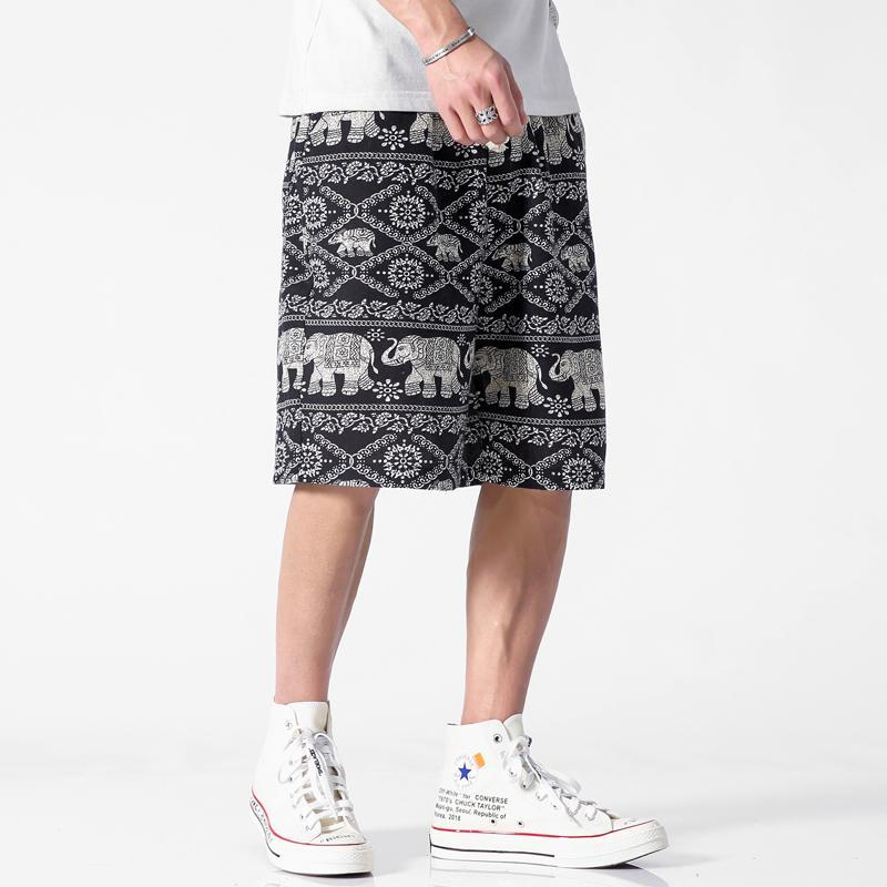 Summer Shorts Men Print Pattern Casual Shorts Men Linen Hawaiian Loose Straight Mens Clothing