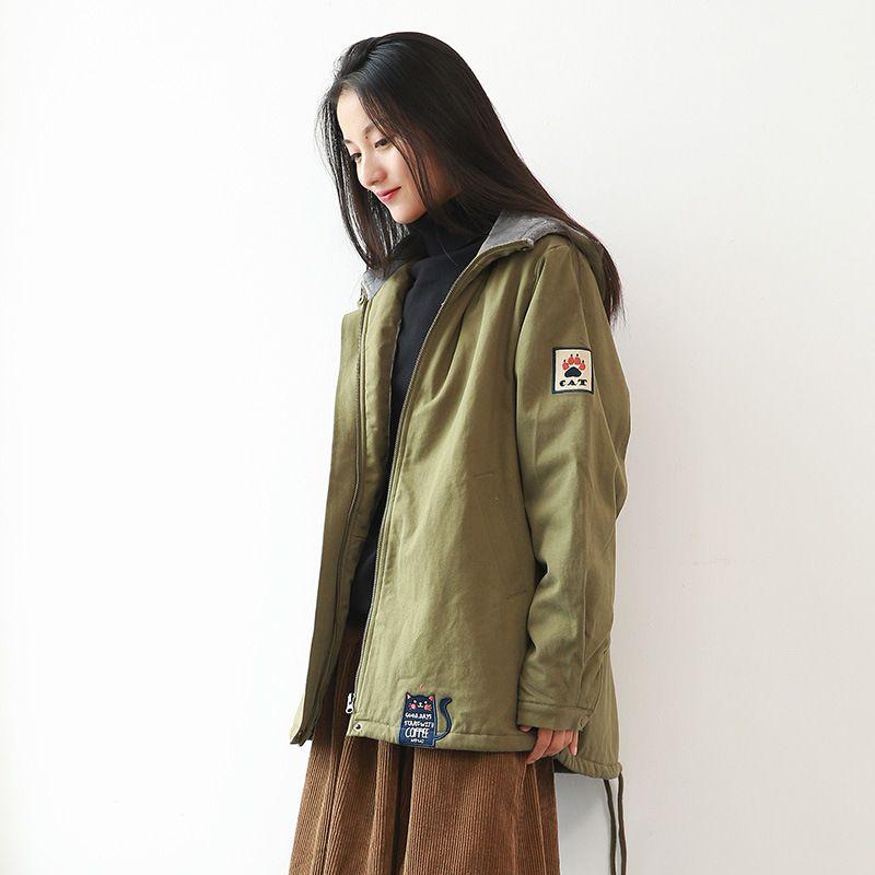 Parkas Kadınlar Sonbahar Kış Pamuk dolgulu Artı Kadife Ceket Katı Renk Uzun Kol Kapşonlu Bayan Giyim Gevşek Casual Kadınlar Tops